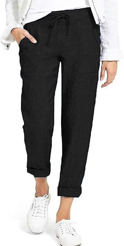 Puimentiua Womens Tapered Pants Cotton Linen Drawstring Back Elastic Waist Pants Casual Trousers with Pockets.