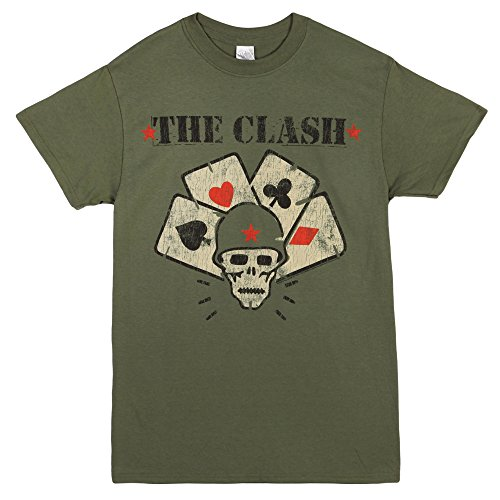 The Clash Skull & Suits Straight To Hell Adult T-shirt - Military Green (Small)