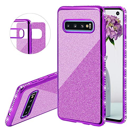 (YiCTe Glitter Case for Galaxy S10 Plus [Not for Samsung Galaxy S10],Luxury Bling Diamond Sparkle Rhinestone Plating Cover Shockproof Crystal Slim TPU Silicone Case for Samsung Galaxy S10 Plus,Purple)