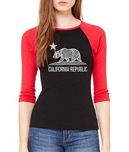 VISHTEA California Republic clásico 3/4 Manga West Coast Raglan Béisbol Camisa, Negro Rojo, M