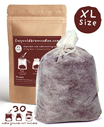 Cold Brew Coffee Filters -Single Use Filter Sock Packs, Disposable, Fine Mesh Brewing Bags for Concentrate, Iced Coffee Maker, French/Cold Press Kit, Tea in Mason Jar or (30 Pack - Commercial Size) ()