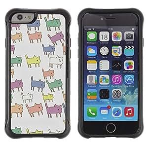 WAWU Funda Carcasa Bumper con Absorci??e Impactos y Anti-Ara??s Espalda Slim Rugged Armor -- cat pastel color pattern animal cute -- Apple Iphone 6 PLUS 5.5