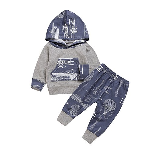 2Pcs Baby Boy Girls Hooded Pocket T-shirt Top+Long Printed Cartoon Pant Cute Warm Outfit (0-6Months, Gray&Blue)