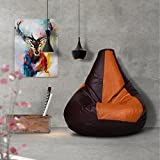 Story@Home XL Leatherite Single Seating Tear Drop Bean Bag Chair Cover Without Filler, Tan Brown