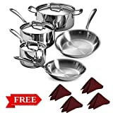Tramontina 80116/568DS Stainless Steel Tri-Ply Clad Cookware Set, 14-Piece, Made in China