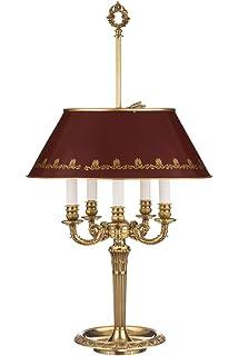Il Bronzetto 4 Flammige Bouillotte Lampe, Französischer Stil, Dunkelroter  Schirm, Höhenverstellbar
