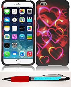 Accessory Factory(TM) Bundle (the item, 2in1 Stylus Point Pen) For Apple iPhone 6 Plus (5.5) Rubberized Design Cover Case - Colorful Hearts