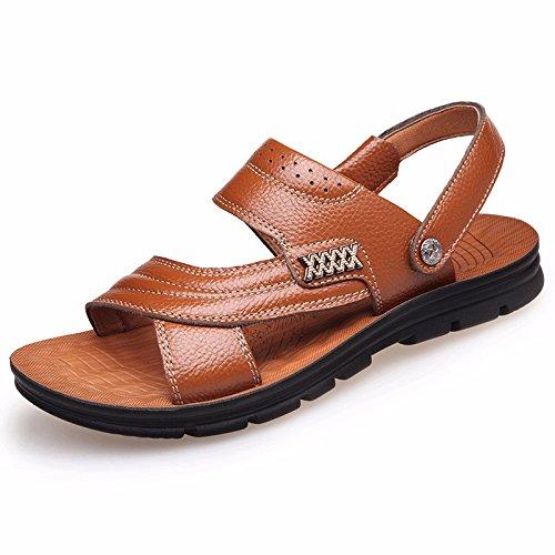 Männer Sandalen Männer Echtleder Das neue Strand Schuh Jugend Sommer Trend Schüler Sandalen Freizeit Schuh ,GelbC,US=7.5,UK=7,EU=40 2/3,CN=41