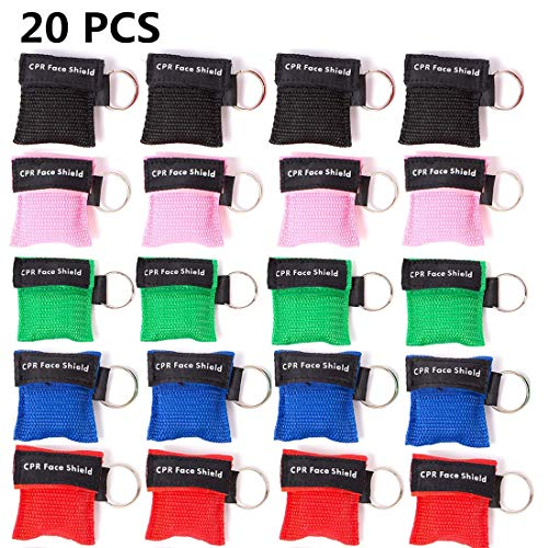 (KONGDY 20PCS CPR Face Shield Keychain Mask Rescue Mask CPR Disposable Emergency CPR Pocket Mask with One-Way Valve Breathing Barrier for First Aid,Cardiac Resuscitation)