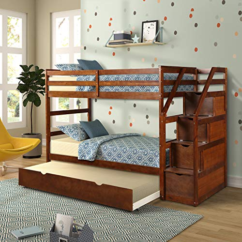 Bunk Bed for Kids Wood Bed Twin-Over-Twin Trundle Bunk Bed with Storage Drawers (Walnut.)