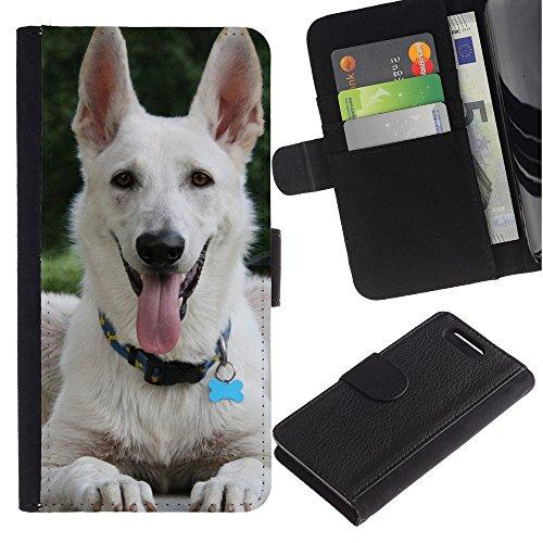 LASTONE PHONE CASE / Lujo Billetera de Cuero Caso del tirón Titular de la tarjeta Flip Carcasa Funda para Sony Xperia Z1 Compact D5503 / White Shepherd Dog Panting Tongue