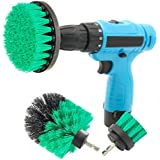Drill Brush Attachment Kits, 3 Pieces Power Scrubber Brushes for Cordless/Corded Drills, All Purpose Cleaning for Bathroom Surface, Grout, Tub, Shower, Floor, Tile, Corners, Kitchen (Medium-Green)