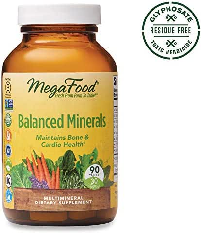 MegaFood, Balanced Minerals, Helps Maintain Bone and Cardiovascular Health, Multivitamin Supplement, Gluten Free, Vegetarian, 90 Tablets (30 Servings) (FFP)