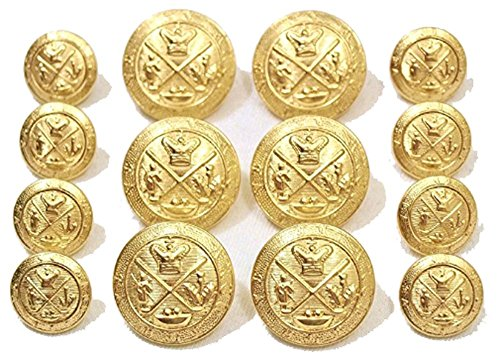 Premium NEW ~GOLD GOLF KING'S CREST~ METAL BLAZER BUTTON SET ~ 14-Piece Set of Shank Style Fashion Buttons For Double Breasted Blazers, Sport Coats, Jackets & Uniforms ~ (Buttons Gold Metal)
