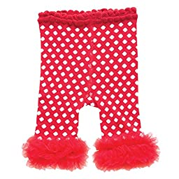 Baby Girls Leggings with Chiffon Ankle Ruffles (12-18 months, Red with White Polka Dots)