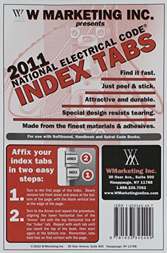 2011 NEC - National Electrical Code Tabs- 84 tabs (For PB, Spiral & Hndbk)