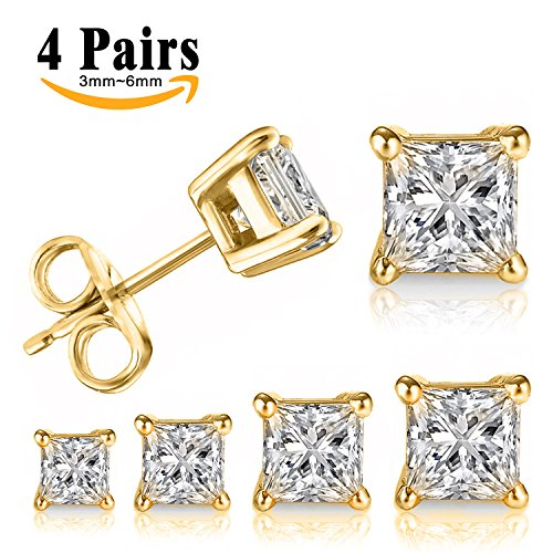 LIEBLICH Princess Cut Cubic Zirconia Stud Earrings Stainless Steel Yellow Gold Plated Square Earrings Set 4 Pairs 3mm-6mm (Gold Mens Earrings)