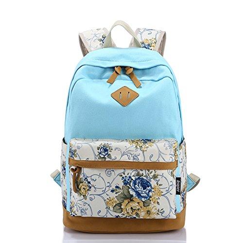 Moin Mochila Bilsa Paquete Nuevo de características étnicas de bolsos de hombros/Mochila Moda Personalidad Azul Claro