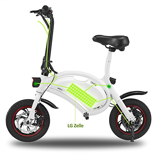 OPLON Folding Adult Electric Bicycle Portable E-Bike/Scooter with 18.6 Mile Range, 250W 36V Motor and Dual Disc Brakes, Pedal-Assist , 16-Inch Wheels & LED Monitor Display, Black, US Stock from OPLON