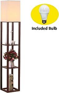 HomeFocus Shelf Floor Lamp with LED Bulb,Display Shelves Floor Lamp,Living Room Floor Lamp,Bedroom Floor Lamp,Natural Linen Shade,Walnut Brown