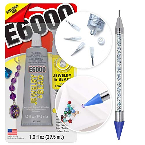 Jewel Setter - E6000 1-Ounce Jewelry and Bead Adhesive with 4 Precision Applicator Tips for Jewelry Pixiss 6-inch Jewel Picker Setter Tool