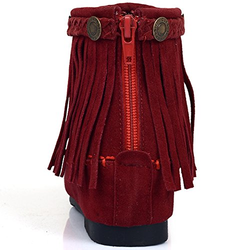 Casual Boots Red Women Comfortable BIGTREE by Fashion Ankle Boots Breathable Tassel Zipper Short EqE7wH8