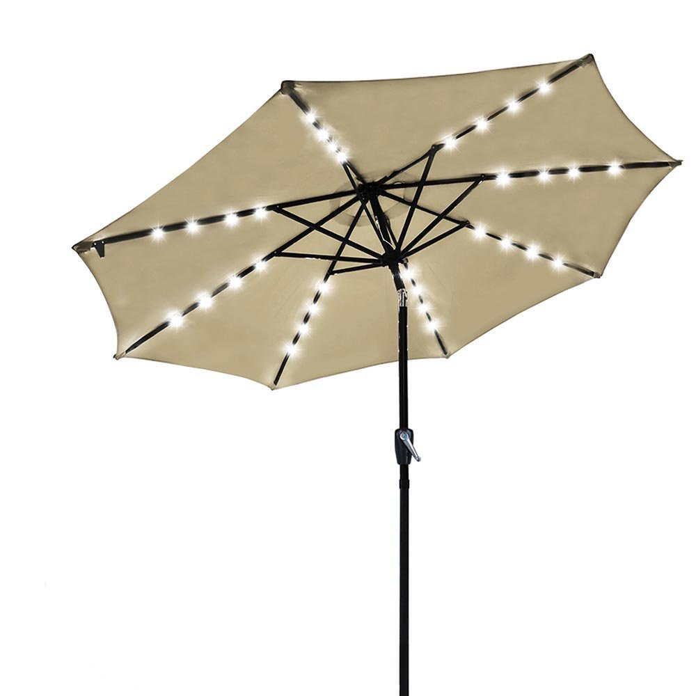 Yeshom 9' Outdoor Solar Powered LED Umbrella 8 Ribs w/ 32 Lights Patio Garden Market Umbrella Tilt and Crank UV30 Beige by Yeshom