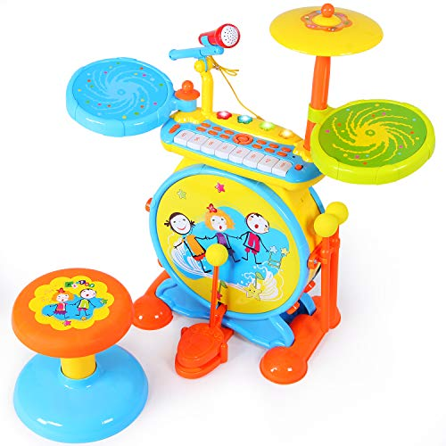 ANTAPRCIS Piano Keyboard Drum Set, Electronic Musical Piano Drum Instrument with Adjustable Vol ,Record, Microphone and Stool,Audio Link Mobile MP3 IPad for Kids Boys Girls
