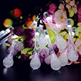 Vmanoo Christmas Decorative Solar Powered Lights, 30 LED 19.7ft 8 Modes Water Drop Fairy String light for Outdoor, Indoor, Home, Patio, Lawn, Garden, Party, Wedding, Holiday, Valentines Gift (White)