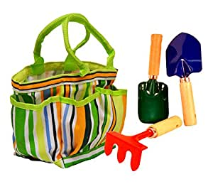 G & F 10012 JustForKids Garden Tools Set with Tote, hand rake, shovel, trowel