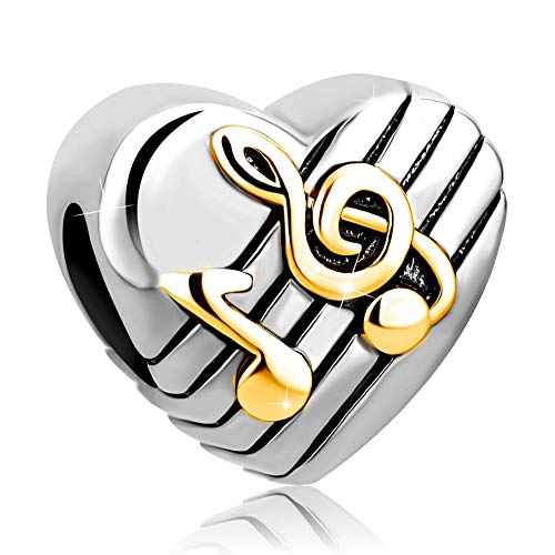 Charmed Craft Love Music Note Charms Charm Beads Snake Chain Bracelets (Gold Tone -