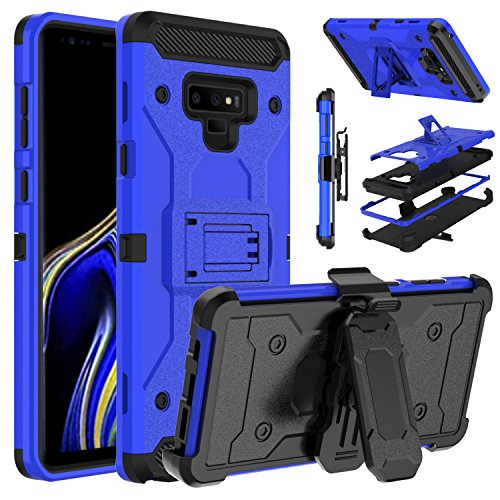 Protector Case Shield Rubberized Black (Galaxy Note 9 Case, Venoro Heavy Duty Armor Shockproof Rugged Protection Case Cover with Belt Swivel Clip and Kickstand for Samsung Galaxy Note 9 / SM-N960U (Blue))