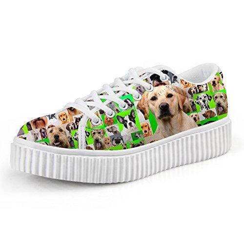 Knuffels Idee Casual Roze Vrouwen Platform Schoenen Gesneden Hond Print Sneakers Labrador Retriever Groen