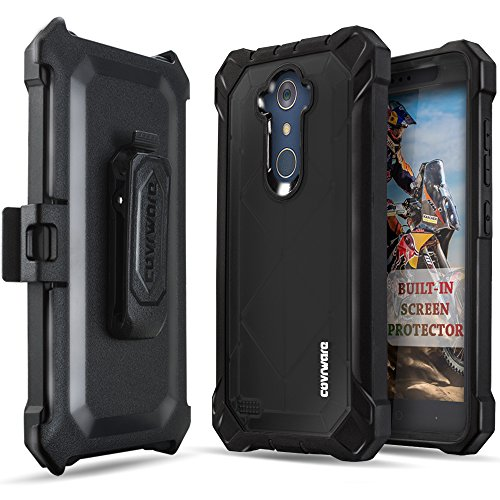 COVRWARE [Ranger Pro] case Compatible with ZTE ZMAX PRO/MAX XL/Blade Max 3 / (Z986) / N9560, with Built-in [Screen Protector] Full Body Rugged Holster Armor Case [Belt Clip][Kickstand], Black