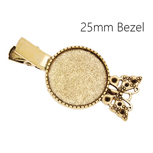 10pcs/lot Antique Gold Plated Butterfly Hair Pin Base with 25mm Blank Round Bezel