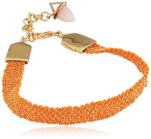 assya-fore5g-Orange fluo et Tissé Bracelet avec charm Opal Bullet Longueur de 18cm