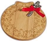Holiday Wreath Shaped Cheese Board With Serving Knife By Picnic Plus