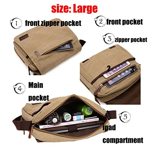 Super Modern Leinwand Messenger Bag Umhängetasche Laptop Tasche Computer Tasche Umhängetasche aus Segeltuch Tasche Arbeiten Tasche Umhängetasche für Männer und Frauen, Herren, Blue Small Khaki groß