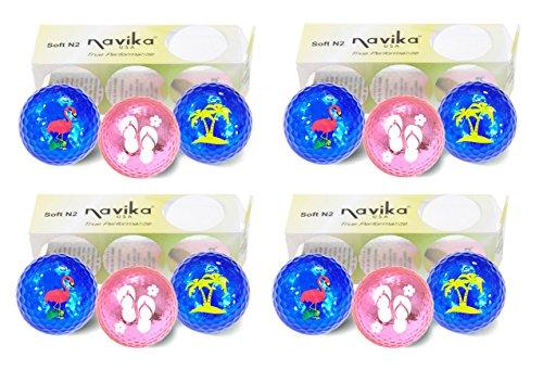 - Navika Golf Balls- Tropical Assorted Imprints on Metallic Chrome High Visibility Colors (12-Pack)