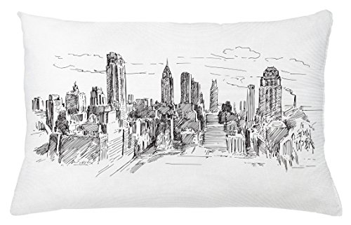 Nyc Throw Pillow (New York Throw Pillow Cushion Cover by Ambesonne, Hand Drawn NYC Cityscape Tourism Travel Industrial Center Town Modern City Design, Decorative Accent Pillow Case, 26 W X 16 L Inches, Grey White)