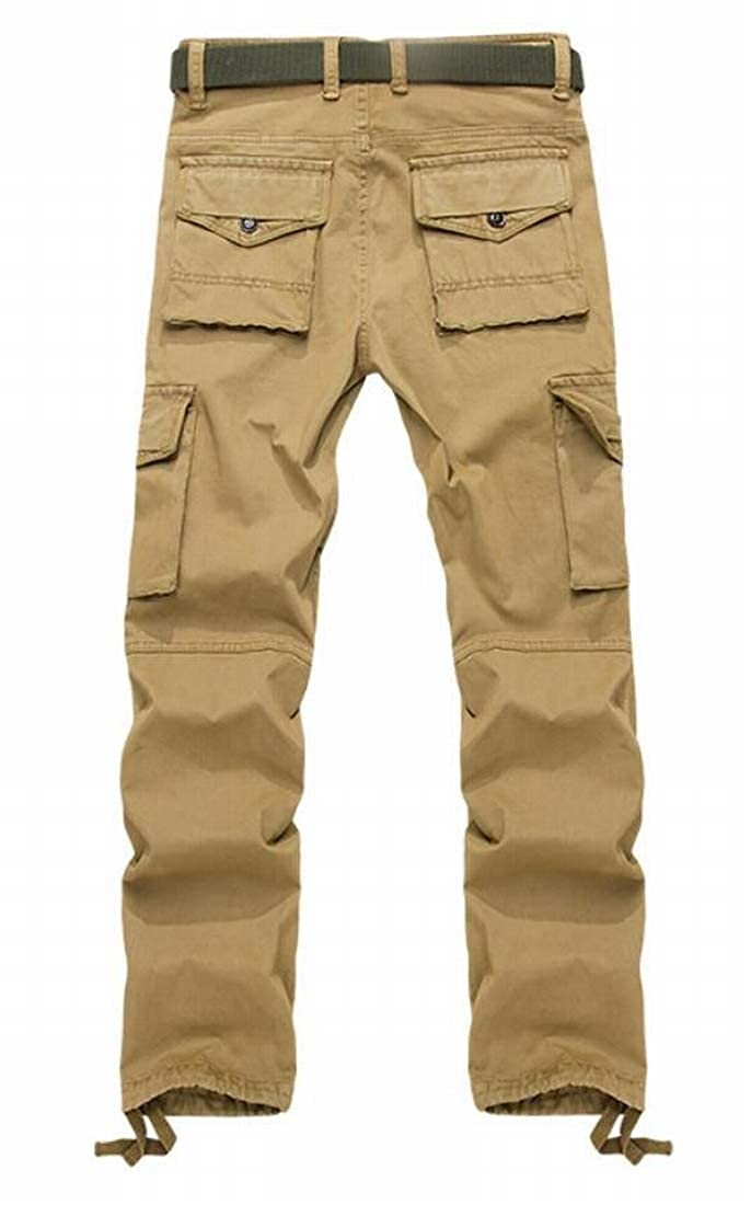 UUYUK Men Casual Cotton Slim Fit Multi-Pocket Cargo Pants Trousers