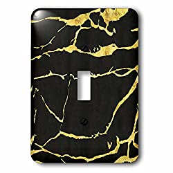 3dRose Anne Marie Baugh - Pattern - Contemporary Digital Gold and Black Crackle Pattern - Light Switch Covers - single toggle switch (lsp_267465_1)