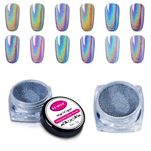 CLAVUZ 1g/Box Laser Holographic Nail Powder Rainbow Chrome Nail Powder Manicure Pigment Nail Art Tools