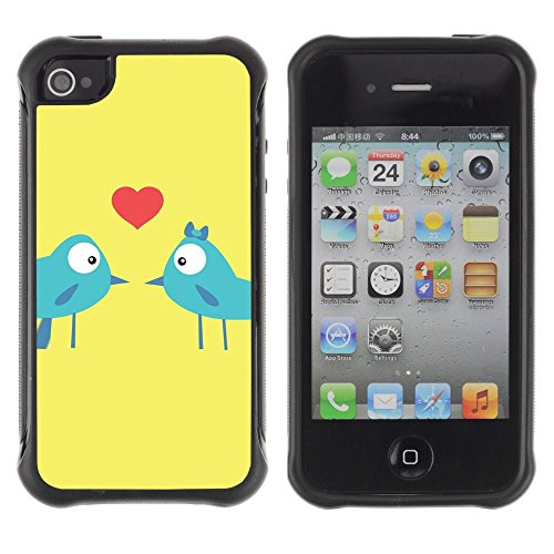 Apple iPhone 4 / iPhone 4S ( Birds Love Kiss Heart Lovers Blue Art Cartoon )