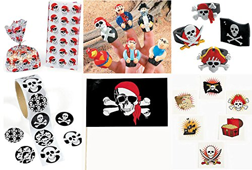 172 Pc Pirate theme Party Favors Pack Bundle Boy's Girl's Bags Rings Finger Puppets Flags Stickers Tattoos (Pirate Theme Tattoos)