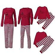 NUWFOR Family Christmas Pajamas Set Matching Men, Women Kids PJs Warm Tops Bottoms Classic Red Colors