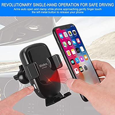 AmyZone Wireless Car Charger Mount Auto Clamping Qi 10W Dashboard/Air Fast Wireless Charger Phone Holder for Google Pixel 4/3 iPhone 8-11 Samsung S7-S10 Note 5-10(with LED QC 3.0 Car Charger Adapter)