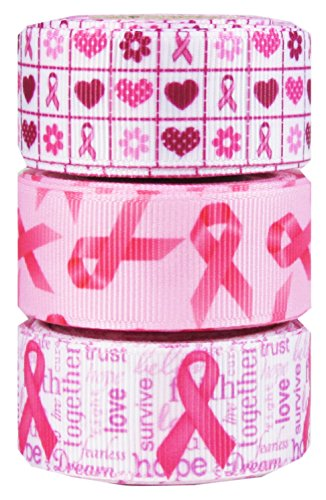 HipGirl Awareness Ribbon Printed Grosgrain Ribbon (15yd(3x5yd) 7/8