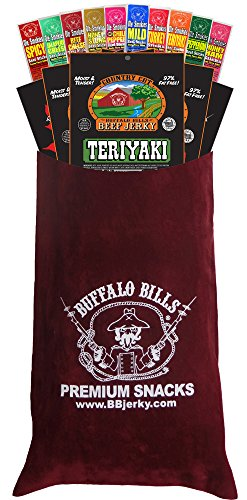 Buffalo Bills 15-Pc Beef Jerky & Beef Stick Sampler Burgundy Velour Wine Gift Bag (15 mixed packs) -  Choo Choo R Snacks, Inc.