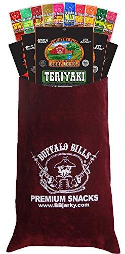 Buffalo Bills 15-Pc Beef Jerky & Beef Stick Sampler Burgundy Velour Wine Gift Bag (15 mixed packs)